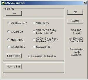 SGO Extract - конвертер из формата SGO (дилерский формат прошивок VAG) в BIN